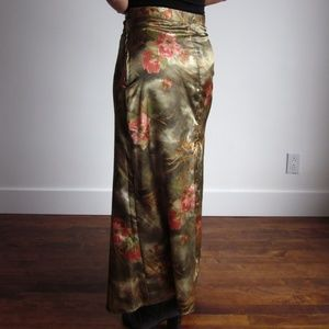 SOSO - Olive Green With Flowers Maxi Skirt